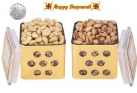 Punjabi Ghasitaram Halwai Diwali Special Cashewnuts & Pistachious Golden Square Jar With Free Silver Plated Coin