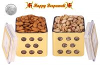 Punjabi Ghasitaram Halwai Diwali Special Pistachious & Almonds Golden Square Jar With Free Silver Plated Coin