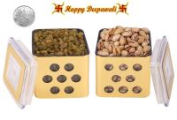 Punjabi Ghasitaram Halwai Diwali Special Pistachious & Raisins Golden Square Jar With Free Silver Plated Coin