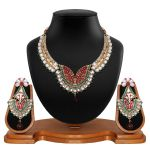 Vendee Fashion Antique Delicate Red & Green Necklace Set 8525