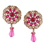 Vendee Fashion Round & Glass Drop Earringns (8534)