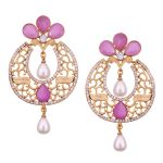 Vendee Fashion Round & Pearls Drop Earringns (8565)