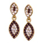 Vendee Fashion Leafy Design Purple Earrings