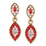 Vendee Fashion Leafy Design Red Earrings