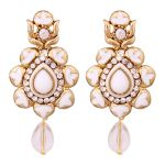 Vendee Traditional Gold Plated Enamel Alloy Earrings For Women 8651 (white)