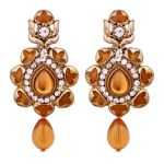 Vendee Traditional Gold Plated Enamel Alloy Earrings For Women 8651a (brown
