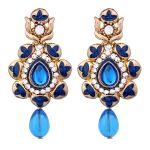 Vendee Traditional Gold Plated Enamel Alloy Earrings For Women 8651c (blue)