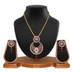 Exclusive Designer Round Shape Filigree Red Alloy Pendant Set 8660a