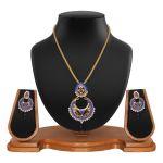 Ethnic Designer Round Shape Filigree Blue Alloy Pendant Set 8663d