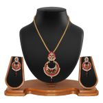 Ethnic Designer Round Shape Filigree Red Alloy Pendant Set 8663e