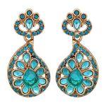 Beautiful Alloy Sky Blue Kundan Earrings 8697