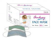 Amkay- Face Mask 3 Ply - Elastic / Loop- Color- Green Bulk Box (100pcs Per