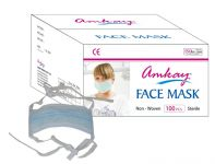 Amkay- Face Mask 3 Ply - Tie / Lace Color- Blue Bulk Box (100 PCs Per Box)