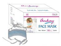 Amkay- Face Mask 3 Ply - Tie / Lace Color- Green Bulk Box (100 PCs Per Box)