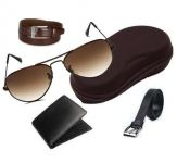Combo Of Italian Leather Wallet And 2 Leather Belts With Aviator Sunglasses