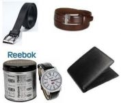 Combo Of Leather Wallet And 2 Leatherite Belts With Reebok Watch