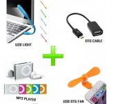 Combo Of MP3 Player,otg Cable,usb Light And USB Otg Fan