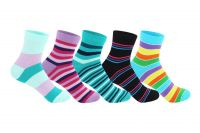 """Supersox Women""""s Ankle Length Pack Of 5 Stripes Combed Cotton Socks_wccd0409"""