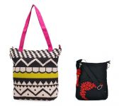 Combo Of Pick Pocket Accrue, Lime Green And Pink Tote With Black Small Bag