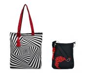 Combo Of Pick Pocket Cube Tote With Black Small Sling Bag