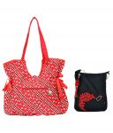 Combo Of Pick Pocket Beautiful Red Fancy Handbag With Black Small Sling Bag