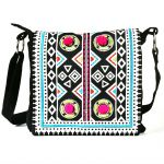 Pick Pocket Blue Aztec Printed And Embroidered Flap Red Canvas Sling Bag