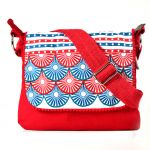 Pick Pocket Circle Printed And Embroidered Flap Red Canvas Sling Bag