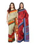 Fostelo Bollywood Designer Beige & Red Saree (pack Of 2)