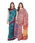 Fostelo Bollywood Designer Blue & Pink Saree (pack Of 2) Npcs-63-142