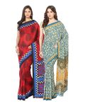 Fostelo Bollywood Designer Red & Green Saree (pack Of 2) Npcs-64-143