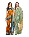 Fostelo Bollywood Designer Mustard & Green Saree (pack Of 2)