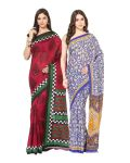 Fostelo Bollywood Designer Pink & Blue Saree (pack Of 2)