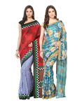 Fostelo Bollywood Designer Light Blue & Blue Saree (pack Of 2)