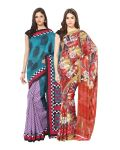 Fostelo Bollywood Designer Dark Blue & Red Saree (pack Of 2)