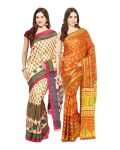 Fostelo Bollywood Designer Beige & Orange Saree (pack Of 2)