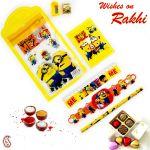 Aapno Rajasthan Minion Pouch Box & Rakhi Kids Hamper - Hpr17164