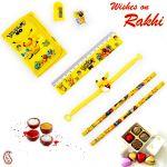 Aapno Rajasthan Cute Pikachu Pouch Box & Rakhi Kids Hamper - Hpr17170