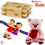 Aapno Rajasthan 16 Ferrero Chocolates With Teddy & Kids Rakhi - Hpr17182