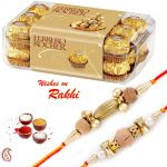 Pack Of 16 PC Ferrero Rocher With Set Of 2 Sandalwood Rakhis - Hpr1756