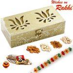 Aapno Rajasthan Laser Cut Twin Lotus Design Gift Box And Rakhi Hamper - Mb1703
