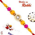 Aapno Rajasthan Pink & Yellow Beads Beautiful Rakhi - Prs1704