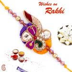 Rakhi For Usa- Aapno Rajasthan Purple & Yellow Beautiful Zardosi Rakhi - Us_prs17143