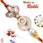 Rakhi For Abroad_aapno Rajasthan White Beads & Kundan Studded Zardosi Rakhi - Int_prs17204