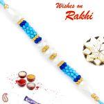 Aapno Rajasthan Elegant Blue & White Beads Rakhi - Prs1748