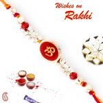 Aapno Rajasthan Beautiful Red & Gold Beads Studded Om Thread Rakhi - Prs1770