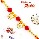Aapno Rajasthan Twin Golden Bell Beads Mauli Thread Rakhi - Prs1775
