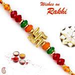 Rakhi For Abroad_aapno Rajasthan Colorful Beads & Swastik Motif Mauli Thread Rakhi - Int_prs1792