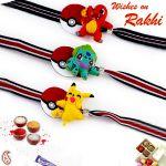 Rakhi For Abroad_aapno Rajasthan Set Of 3 Lovely Cartoon Characters Motif Kids Rakhi - Int_pst17322