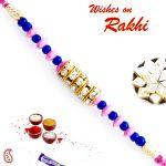 Aapno Rajasthan Pink & Blue Beads & Ad Studded Stylish Rakhi - Rb17617