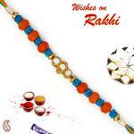 Aapno Rajasthan Blue & Orange Beads Ad Studded Rakhi - Rb17622